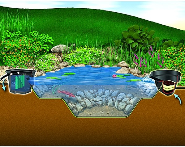 Aquascape signature series biofalls 2500 waterfall filter for Fish pond filter setup