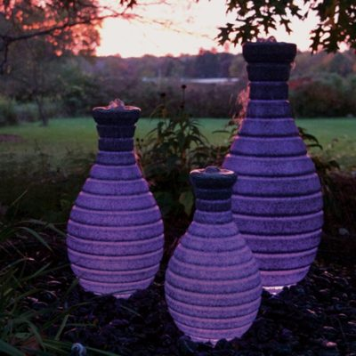 Atlantic Water Gardens Color Changing Vases - At Night