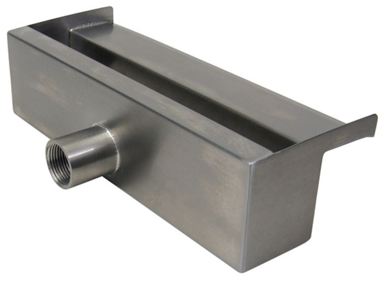 "ProEco Products 12"" Stainless Steel Waterfall Weir - Rear View"