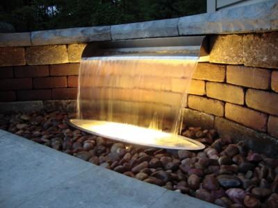 "Atlantic Water Gardens 12"" Stainless Steel Spillway- 316 Steel - shown with optional underwater lighting"