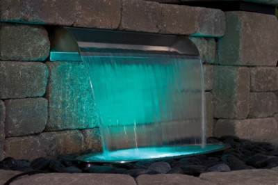 "Atlantic Water Gardens 12"" 316 Stainless Steel Spillway - shown with optional underwater lighting"