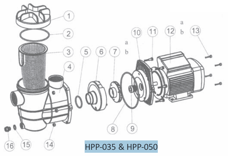 ProEco Products HPP 035 050 Waterfall Pumps - Replacement Parts Diagram
